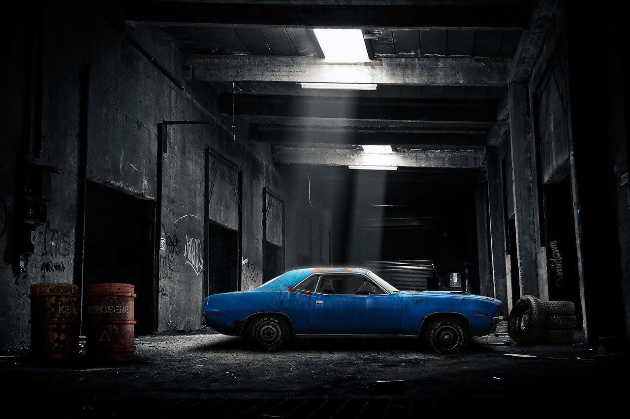 car, garage, old